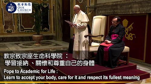 教宗致宗座生命科學院 : 學習接納 、關懷和尊重自己的身體