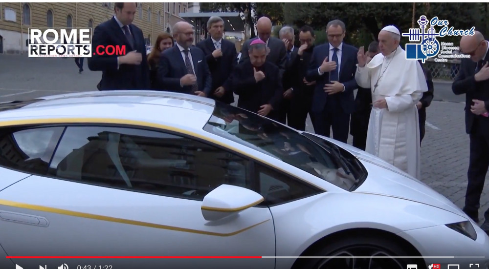 Pope Francis receives Lamborghini to help prostitution victims