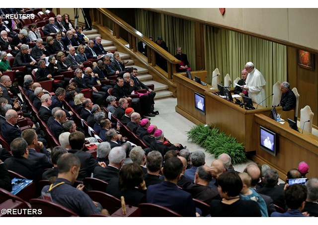 """Pope defends human dignity under attack from """"technocratic materialism"""""""